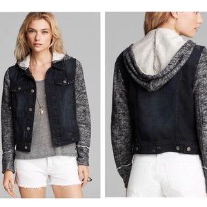 NWOT Free People Black Knit Hooded Denim Jacket
